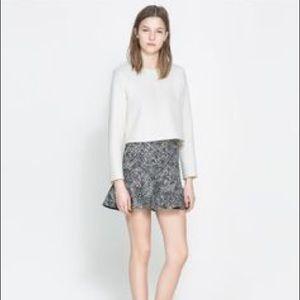 Zara black & white peplum skirt